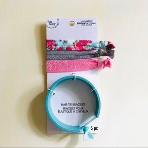 Hair Tie Bracelet + Elastic Bands 5pcs Turquoise